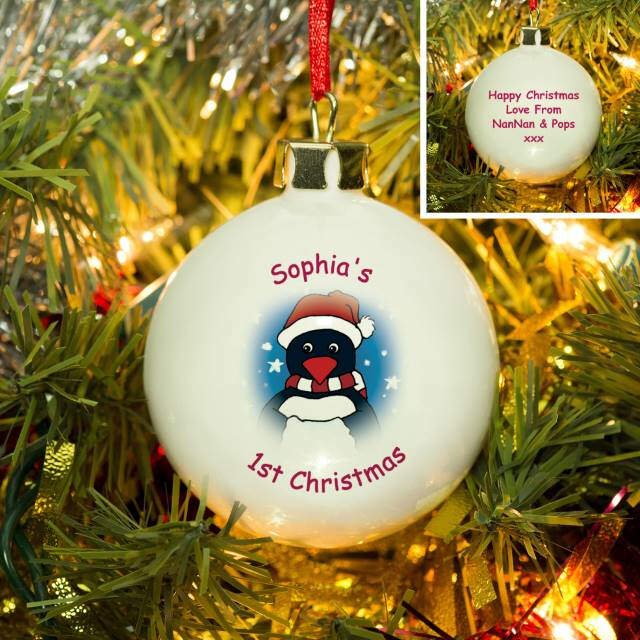 Cartoon Penguin Bone China Bauble