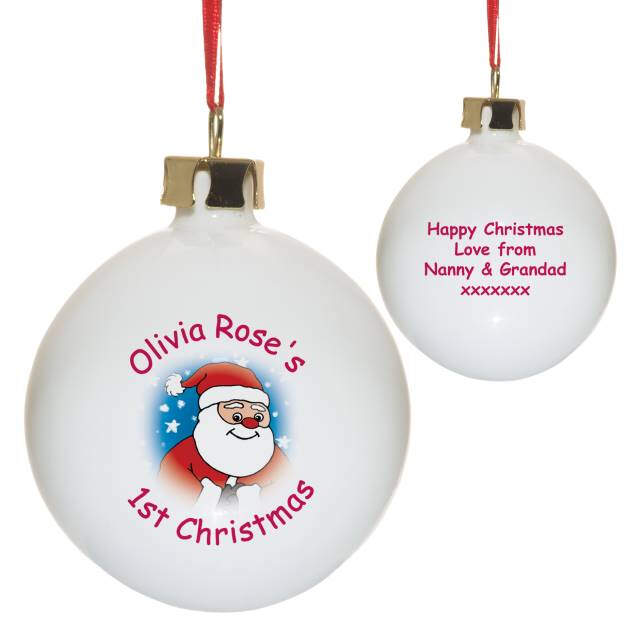 Cartoon Santa Bone China Bauble