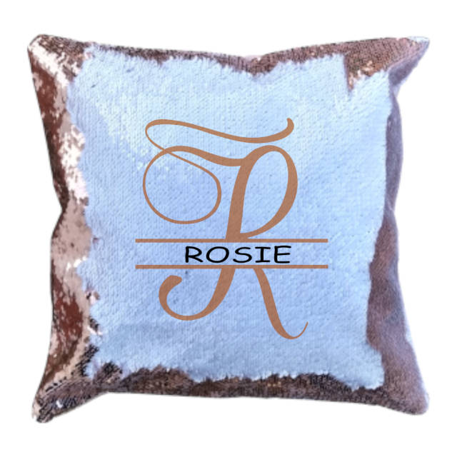 Champagne Sequin Cushion Cover Monogram