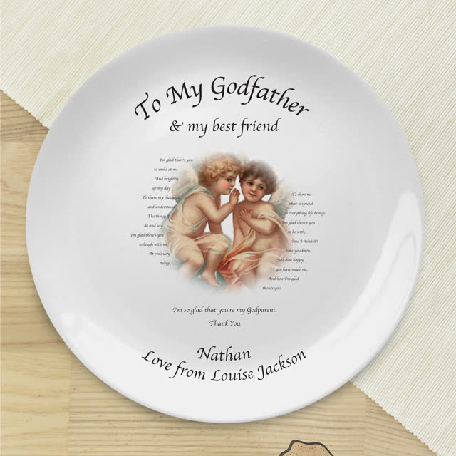 "Cherubs God Parent 8"" Bone China Coupe Plate"