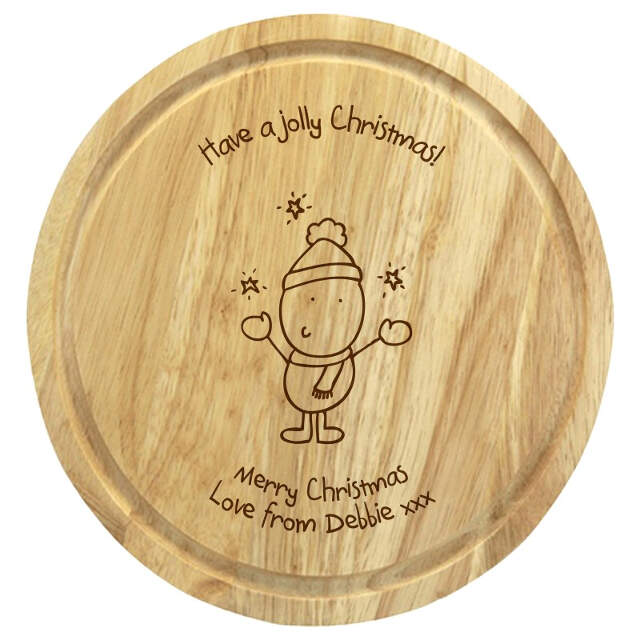 Chilli & Bubble's Jolly Christmas round chopping board