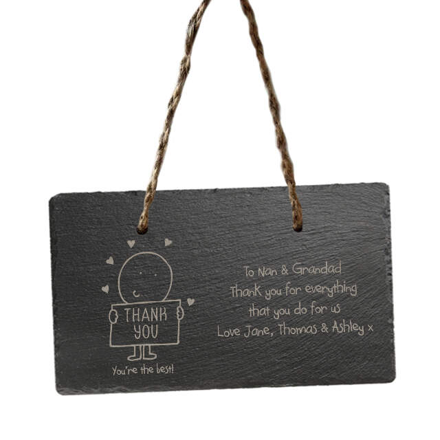 Chilli and Bubbles Thank You hanging slate sign