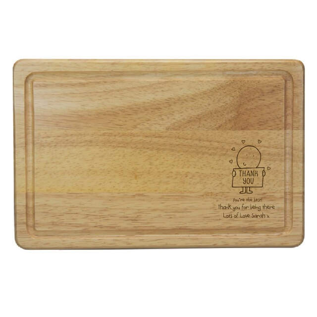 Chilli & Bubble's Thank You rectangle wooden large cheeseboard