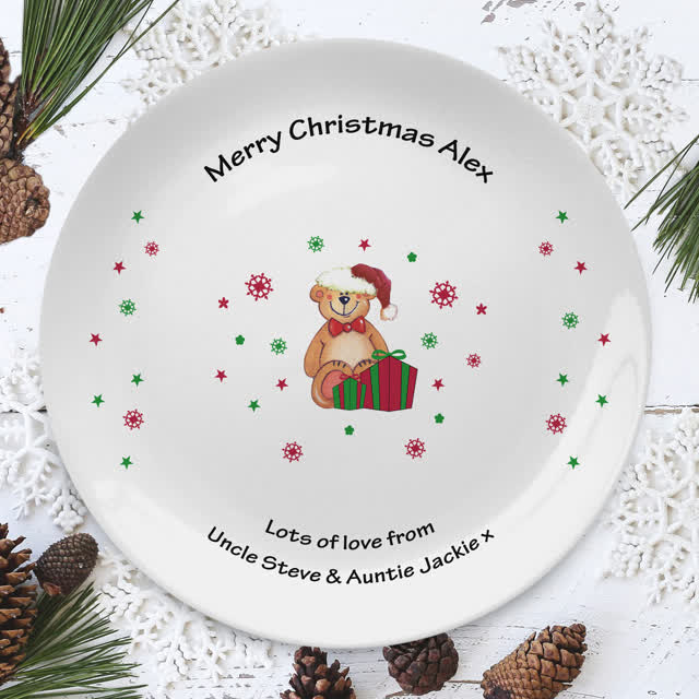"Christmas Teddy & Hat 8"" Coupe Plate"