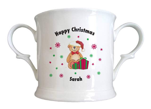 Christmas Teddy & Hat Bone China Loving Cup