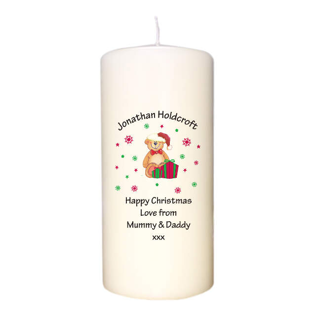 Christmas Teddy & Hat Candle