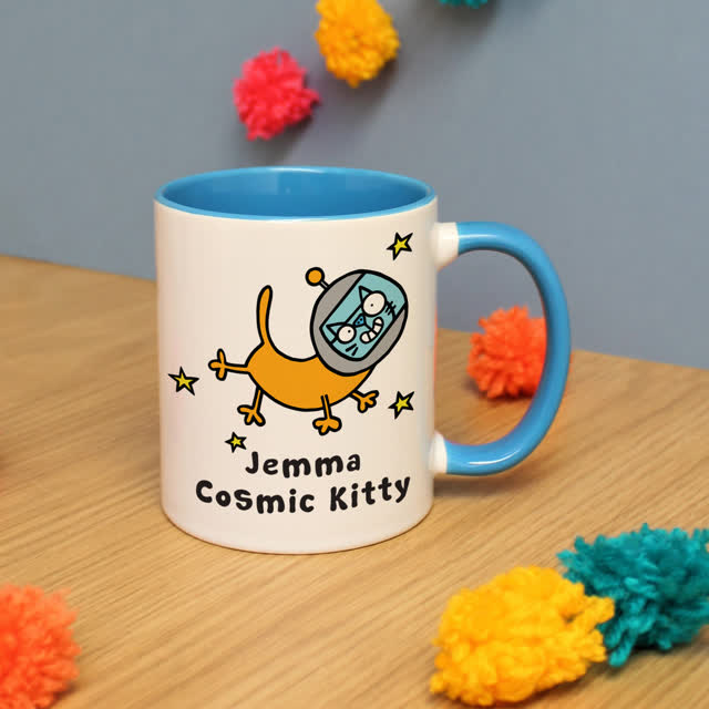 Cosmic Kitty Blue Inside Mug