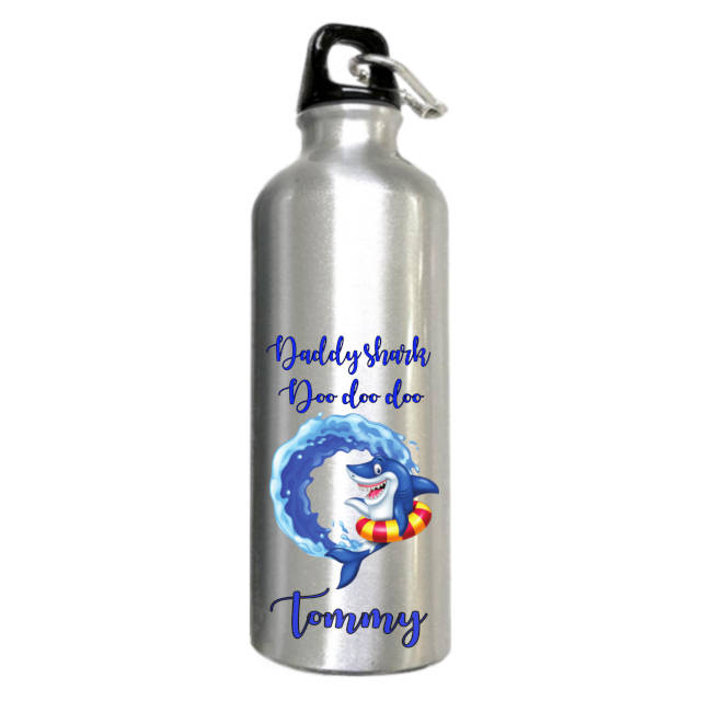 Daddy Shark Camping Silver Water Bottle