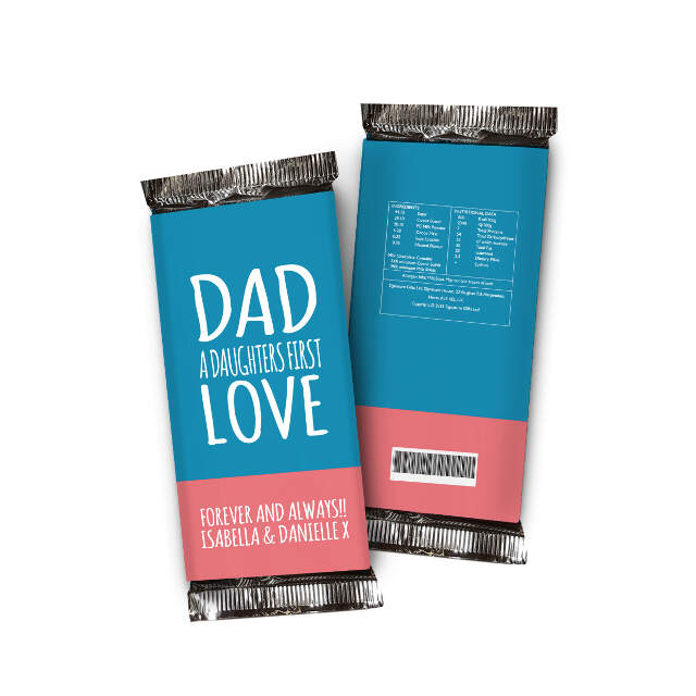Daughters First Love Chocolate Bar Blue & Pink