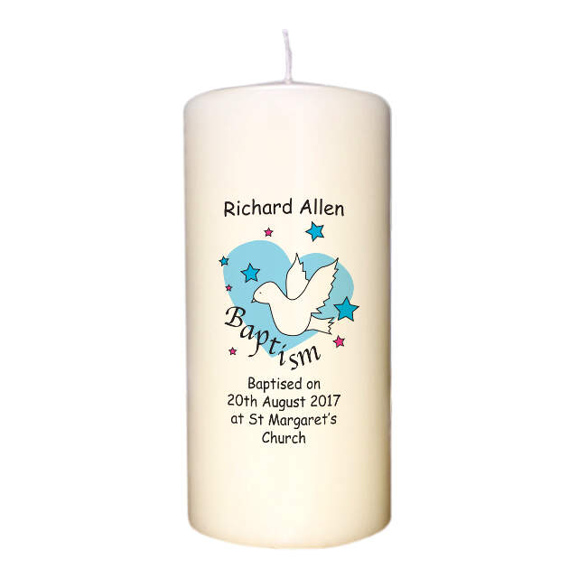 Dove & Hearts Blue Baptism Candle