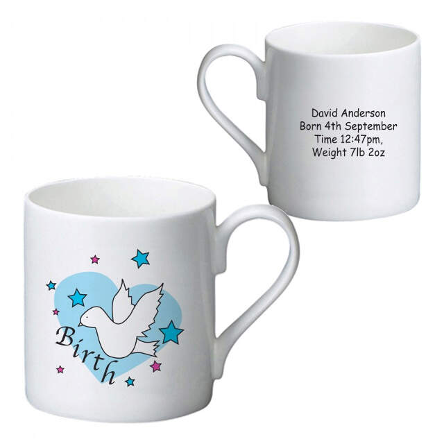 Dove & Hearts Blue Birth Bone China Mug