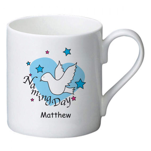 Dove & Hearts Blue Naming Day Bone China Mug