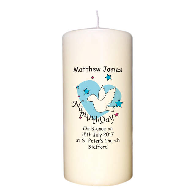 Dove & Hearts Blue Naming Day Candle