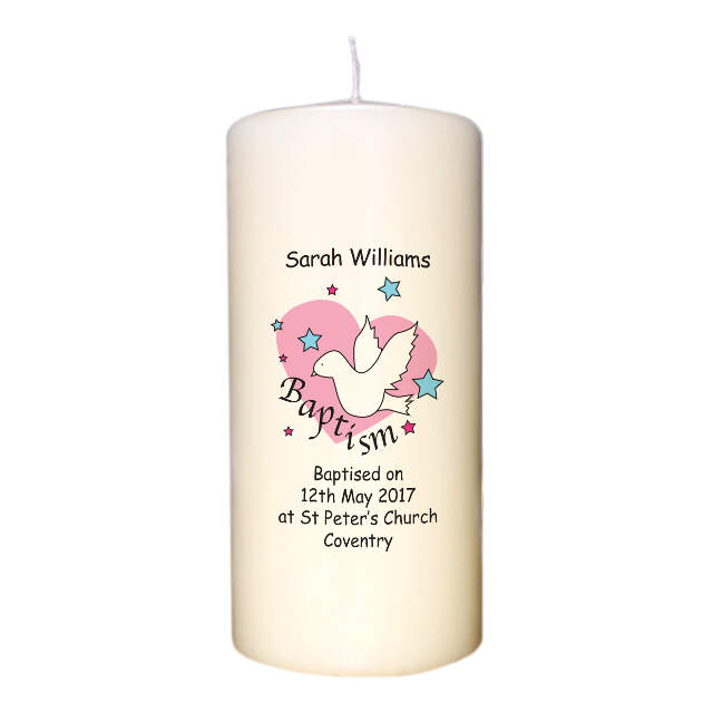 Dove & Hearts Pink Baptism Candle