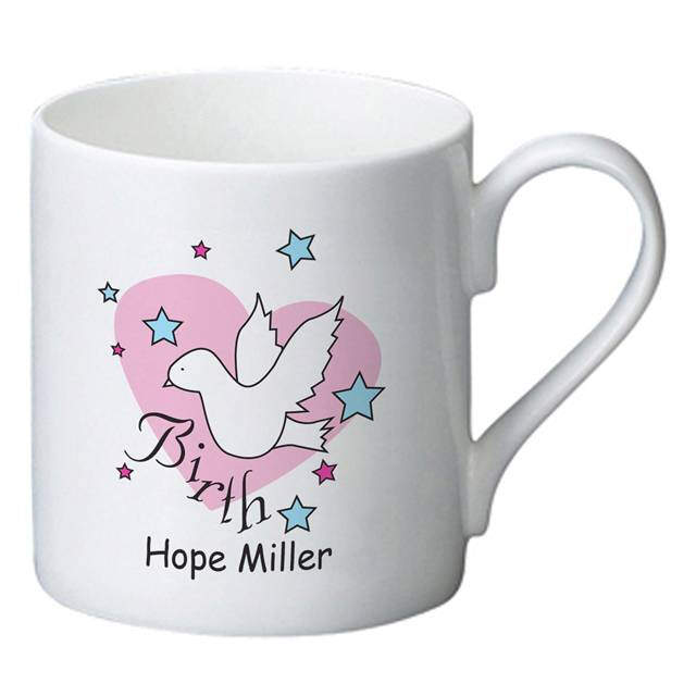 Dove & Hearts Pink Birth Bone China Mug