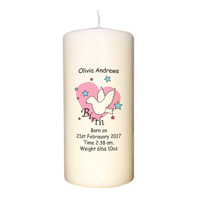 Dove & Hearts Pink Birth Candle