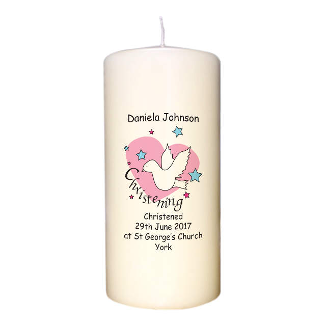 Dove & Hearts Pink Christening Candle