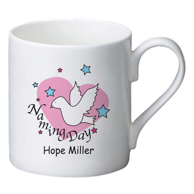 Dove & Hearts Pink Naming Day Bone China Mug