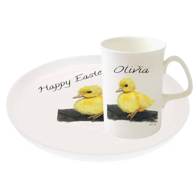 Easter Duckling Mug And Biscuit Tray By Amanda Steart