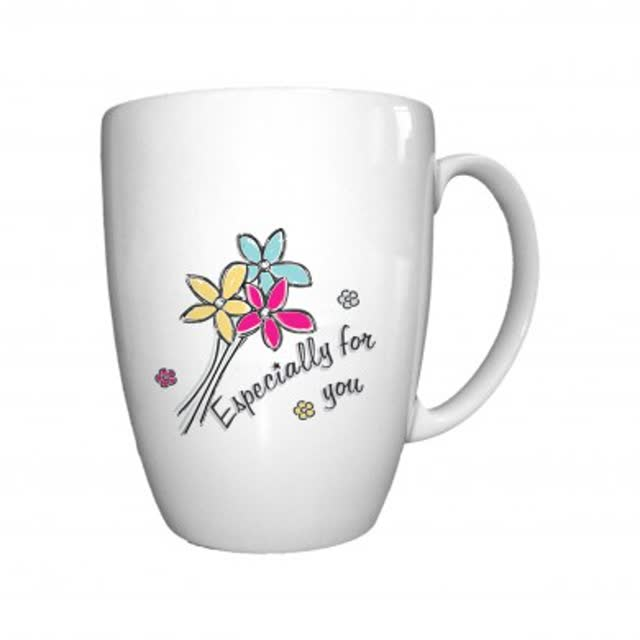 Especially For You Flowers Bone China Conic Mug