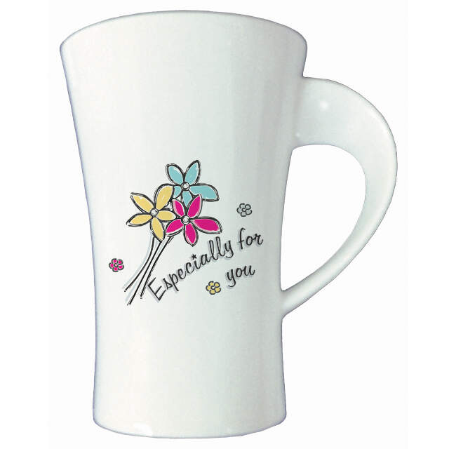 Especially For You Flowers Bone China Twist Handle Mug