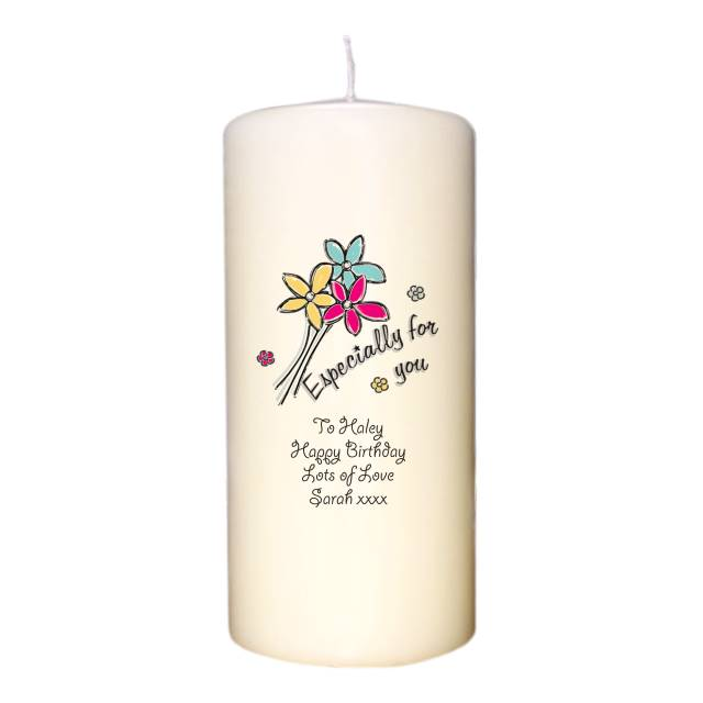 Especially For You Flowers Ivory Candle