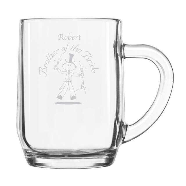 Etched Wedding Character Half Pint Tankard