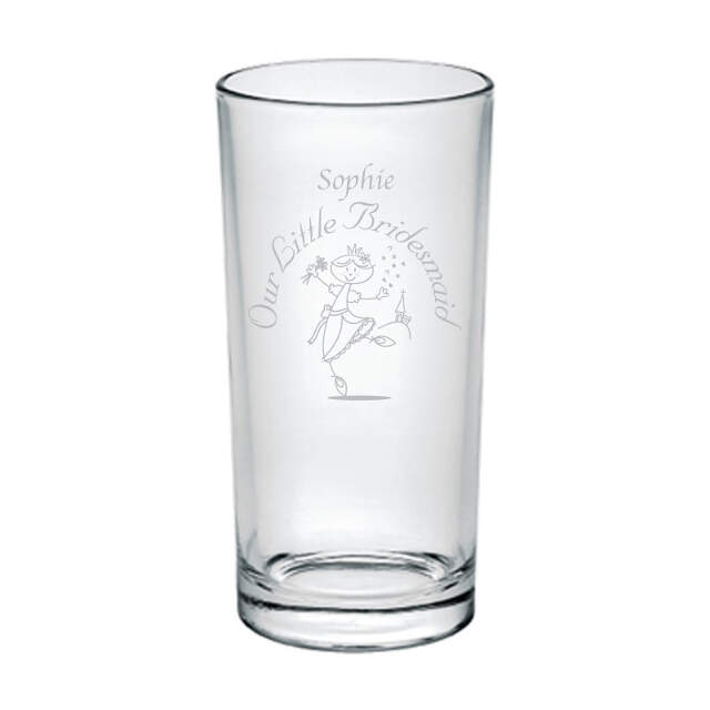 Etched Wedding Character Hi Ball Glass