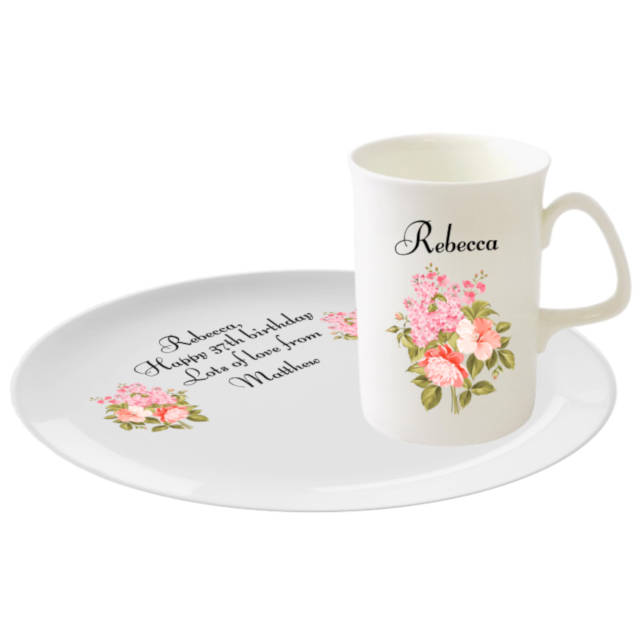 One of our 10oz mugs featuring a personalised floral design with a matching biscuit tray. Personalise both the mug & tray with any name and message