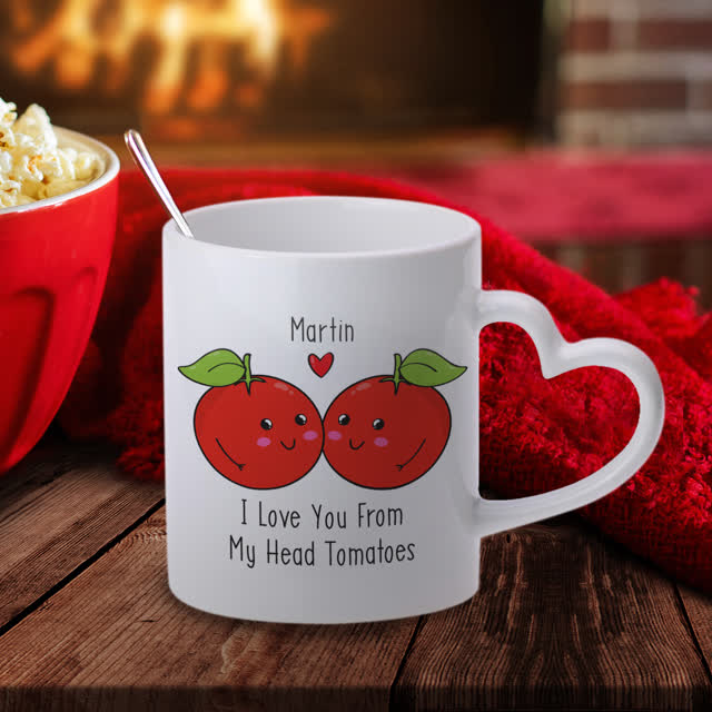 From My Head Tomatoes Heart Handle Mug