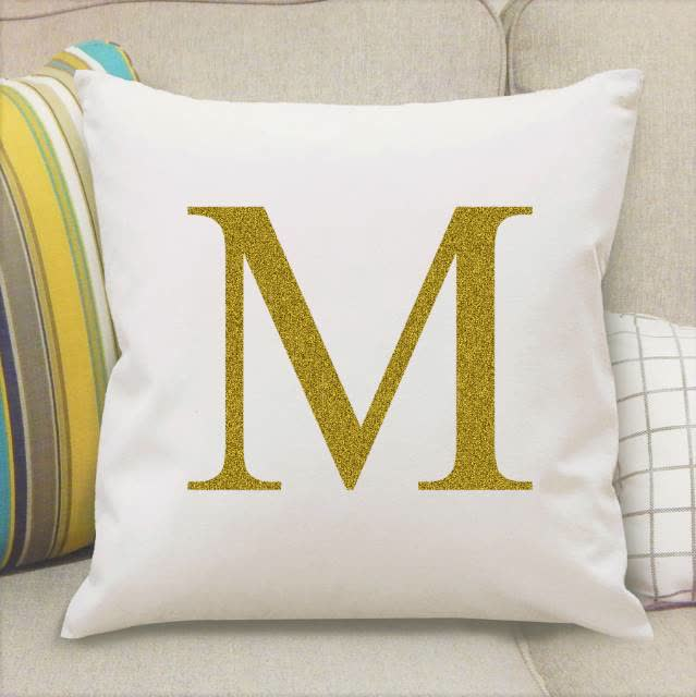 Gold Monogram Initial Cushion Cover