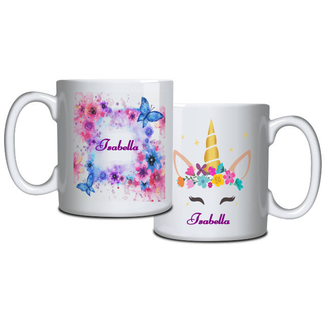 Golden Unicorn and Flowers Personalised Mug