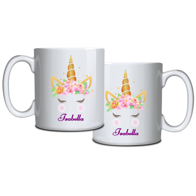 Golden Unicorn and Roses Personalised Mug