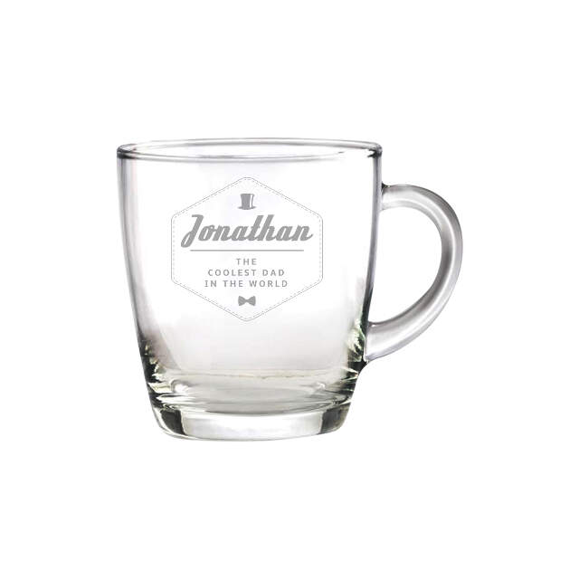 Hipster Style Coolest Dad Glass Mug