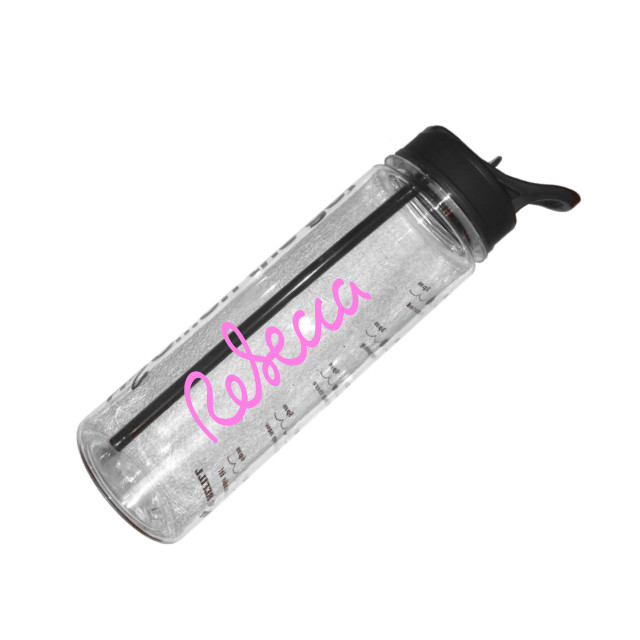 Personalised water tracker bottle black top