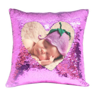 Magic Photo Sequin Cushion Cover Pink