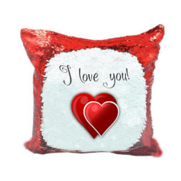 Magic Red Sequin Cushion Cover Message and Hearts