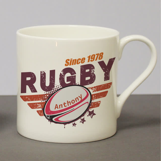 Maroon Rugby Chunky Bone China Mug