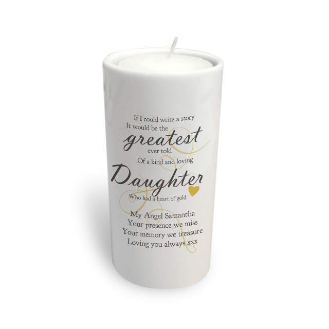 Memorial Greatest Story round tea light holder