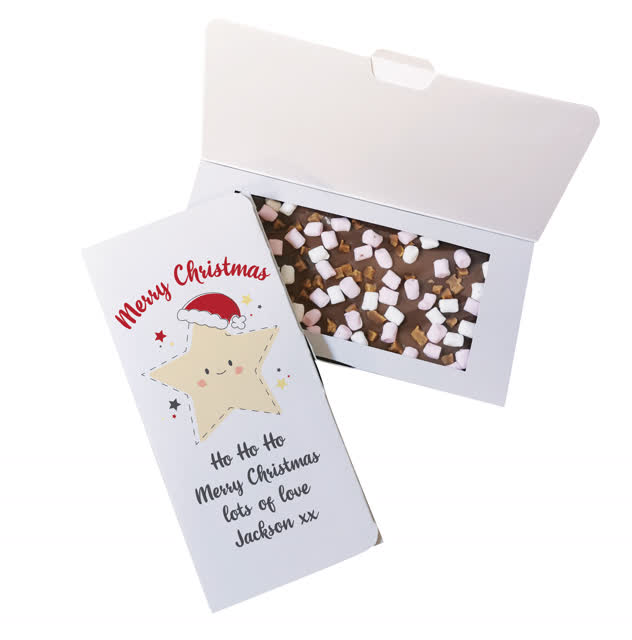 Merry Christmas Star Milk Chocolate Card