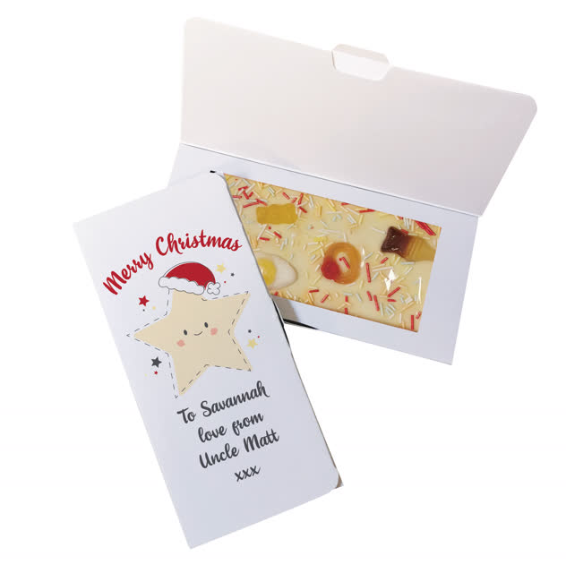 Merry Christmas Star White Chocolate Card
