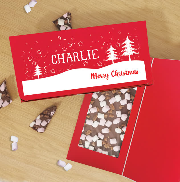 Merry Christmas Trees Milk Chocolate Card