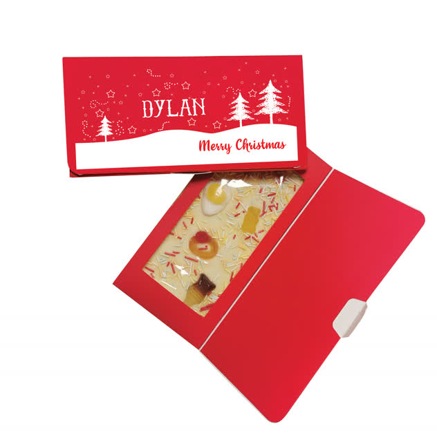 Merry Christmas Trees White Chocolate Card