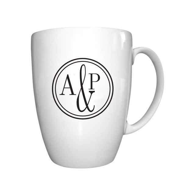 Monogram Circle Bone China Conic Mug