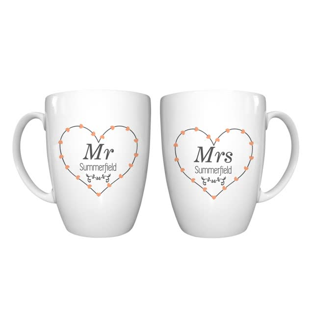 Mr & Mrs Heart Conical Mug Set