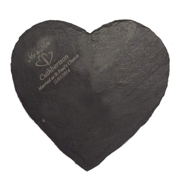 Mr & Mrs Heart Slate Cheese Board