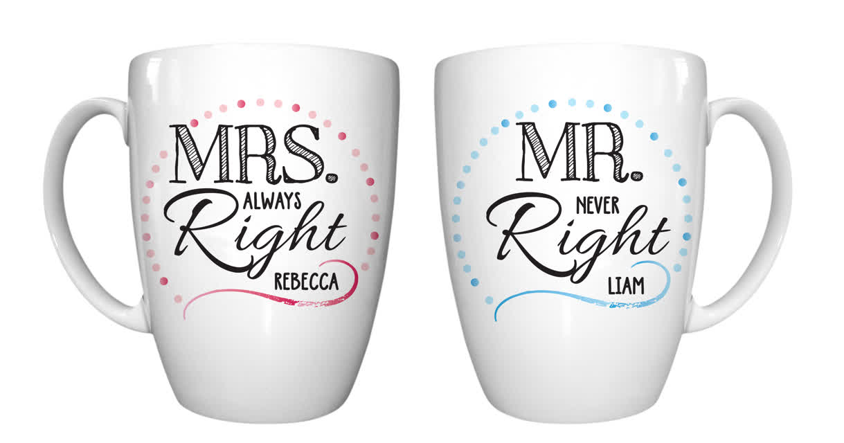 Mr & Mrs Right Mug Set
