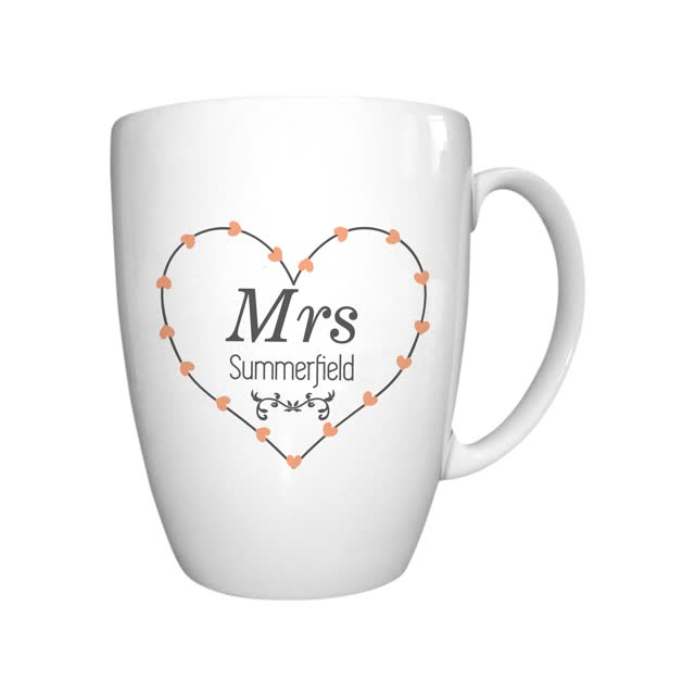 Mrs Heart Conical Mug