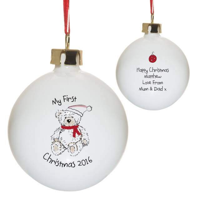My 1st Xmas Teddy Bear Bone China Bauble