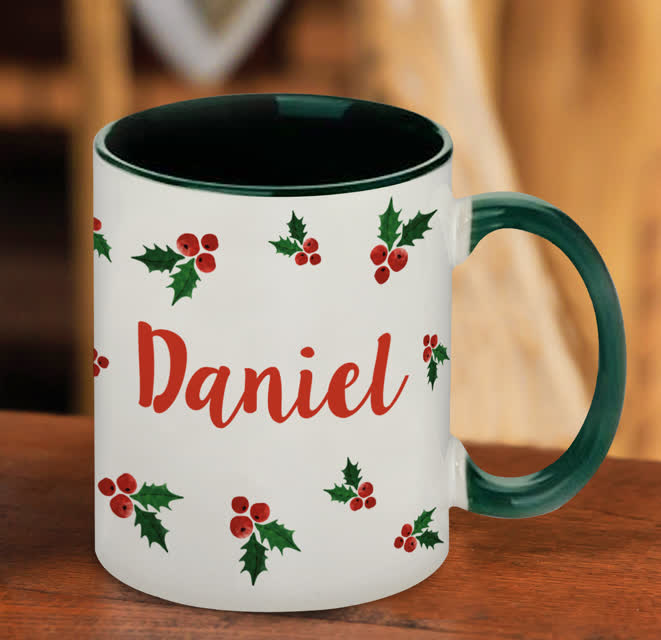 Name in Holly Green Sublimation Mug